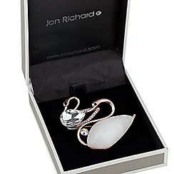 Jon Richard - Cateseye effect double swan brooch