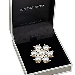 Jon Richard - Crystal and cream pearl floral brooch