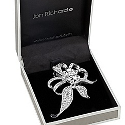 Jon Richard - Large curled leaf crystal flower brooch