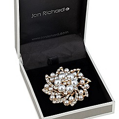Jon Richard - Pearl and crystal swirl cluster brooch