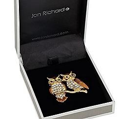 Jon Richard - Crystal and enamel double owl brooch