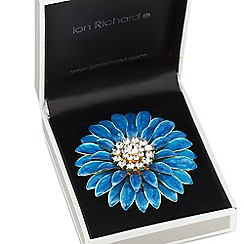 Jon Richard - Green enamel layered flower brooch