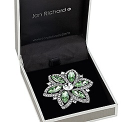 Jon Richard - Green navette crystal surround floral brooch