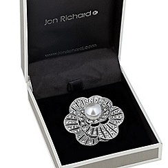 Jon Richard - Pearl and crystal 3-d floral brooch