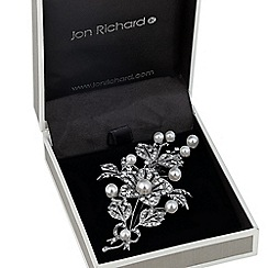 Jon Richard - Pearl and crystal filigree flower brooch