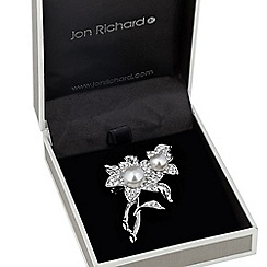 Jon Richard - Pearl and crystal double flower brooch