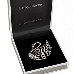Jon Richard - Multicoloured crystal swan brooch