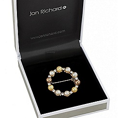 Jon Richard - Tonal pearl crystal wreath brooch