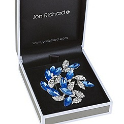 Jon Richard - Blue navette and crystal cluster brooch