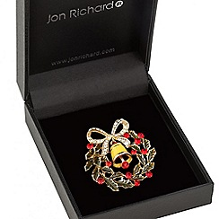 Jon Richard - Christmas bell wreath crystal brooch