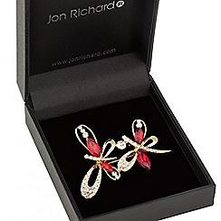 Jon Richard - Gold red crystal double butterfly brooch