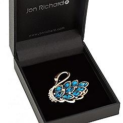 Jon Richard - Teal crystal swan brooch
