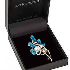 Jon Richard - Pearl and blue crystal open swirl brooch