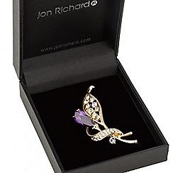 Jon Richard - Purple crystal leaf brooch
