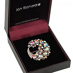 Jon Richard - Rose gold crystal peacock brooch
