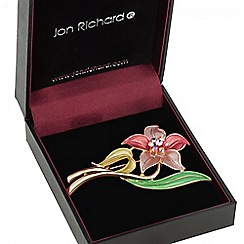 Jon Richard - Pink crystal flower brooch