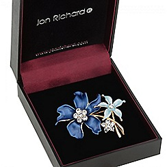 Jon Richard - Blue double flower crystal brooch