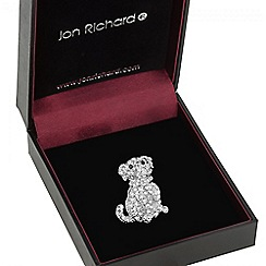 Jon Richard - Silver crystal pug dog brooch
