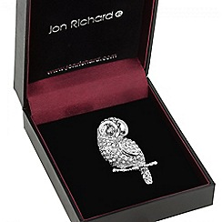 Jon Richard - Silver crystal owl brooch