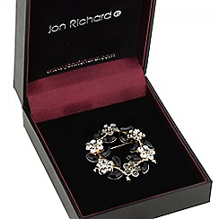 Jon Richard - Jet crystal floral wreath brooch