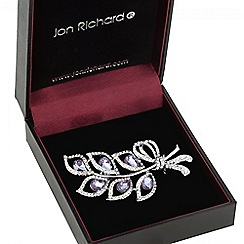 Jon Richard - Purple crystal multi leaf brooch