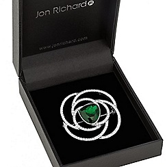 Jon Richard - Green crystal swirl brooch
