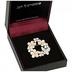 Jon Richard - Crystal floral butterfly wreath brooch