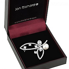 Jon Richard - Cubic zirconia and pearl loop brooch