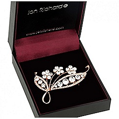 Jon Richard - Rose gold floral butterfly brooch