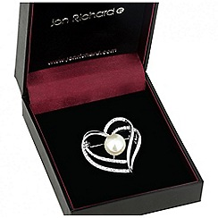 Jon Richard - Pearl and crystal open heart brooch