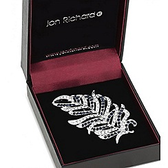 Jon Richard - Silver crystal feather brooch