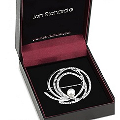 Jon Richard - Pearl centre crystal swirl brooch