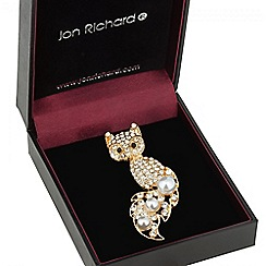 Jon Richard - Gold crystal fox with pearl tail brooch