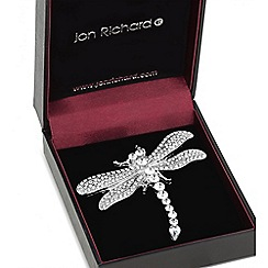 Jon Richard - Silver crystal dragonfly brooch