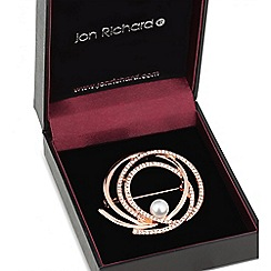 Jon Richard - Rose gold pearl centre crystal swirl brooch