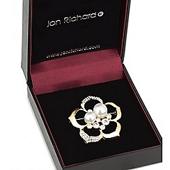 Jon Richard - Gold open rose pearl brooch