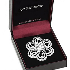 Jon Richard - Silver crystal open flower brooch
