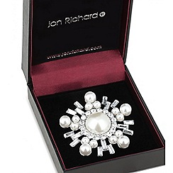 Jon Richard - Silver crystal pearl circle brooch