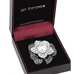 Jon Richard - Monochrome crystal pearl brooch