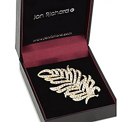 Jon Richard - Gold crystal feather brooch