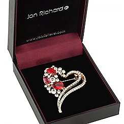 Jon Richard - Gold open crystal heart brooch