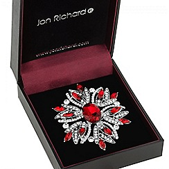 Jon Richard - Red crystal floral burst brooch