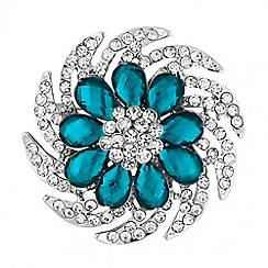 Jon Richard - Teal peardrop crystal brooch
