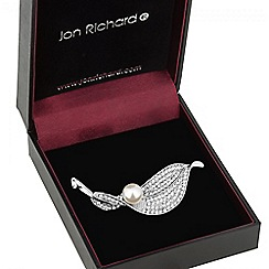 Jon Richard - Crystal and pearl leaf brooch