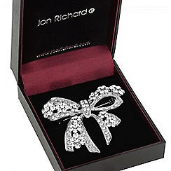 Jon Richard - Silver crystal bow brooch