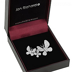 Jon Richard - Silver pave multi butterfly brooch