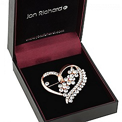 Jon Richard - Rose gold crystal heart brooch