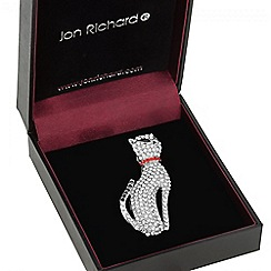 Jon Richard - Silver crystal sitting cat brooch