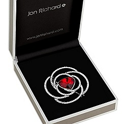 Jon Richard - Red crystal floral brooch