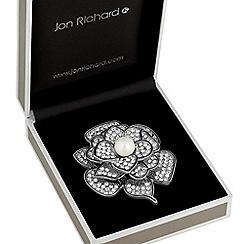 Jon Richard - Crystal and pearl flower brooch